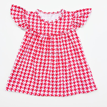 Girl pearl dress new style baby frock design pictures Red Houndstooth wholesale baby clothes