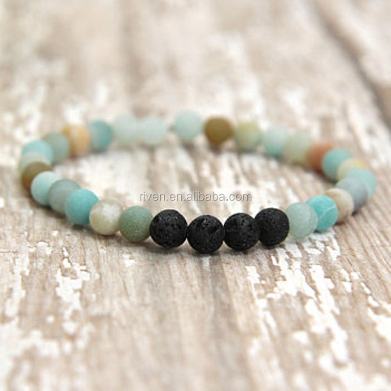SN0984 Essential Oil diffuser jewelry Mala Wrist Gift Lava Bracelet Popular 6mm Matte Amazonite Beaded Stretchy Bracelet