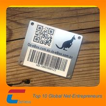 Custom 4 holes steel metal plate,metallic nameplate for brands with qr code&barcode printing