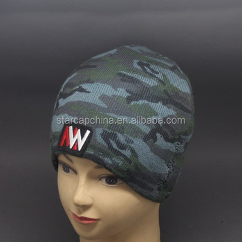 2015 FASHION WOMEN AND MEN PRINTING CAMO KNITTED BEANIE HAT WITH EMBROIDERY PATCH LOGO