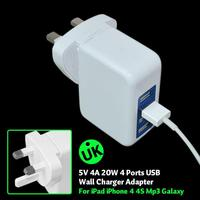 4 Port Premium High Output Rapid USB Wall Charger/Travel Charge/AC Charger (4 Amps / 20Watt / Fastest Speed) mobile home charger