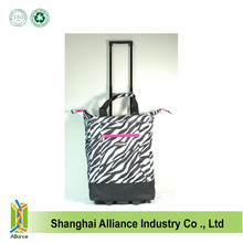 Zebra Pattern 20 Wheeled Rolling Shopping Tote Bag with Retractable Handle