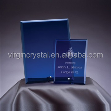 Wholesale custom blank blue crystal glass award plaques for office desk decoration