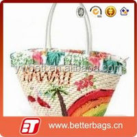 Cheap lady paper straw beach bags with leather handle