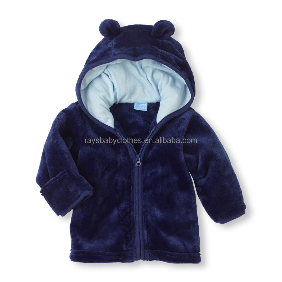OEM Fancy Design Baby hoodie Male and female baby super Meng coral velvet hooded jacket infant hoodies three color options