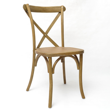 French style rustic solid wood cross back chair