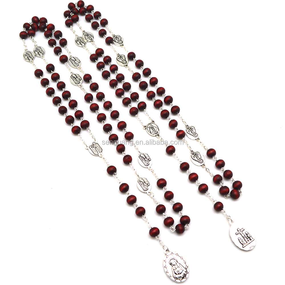 Catholic religious rose scented Rosary of the Seven Sorrows with perfume woods beads Chaplet