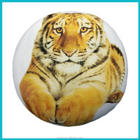 Digital printed tiger round cushion with super soft cover