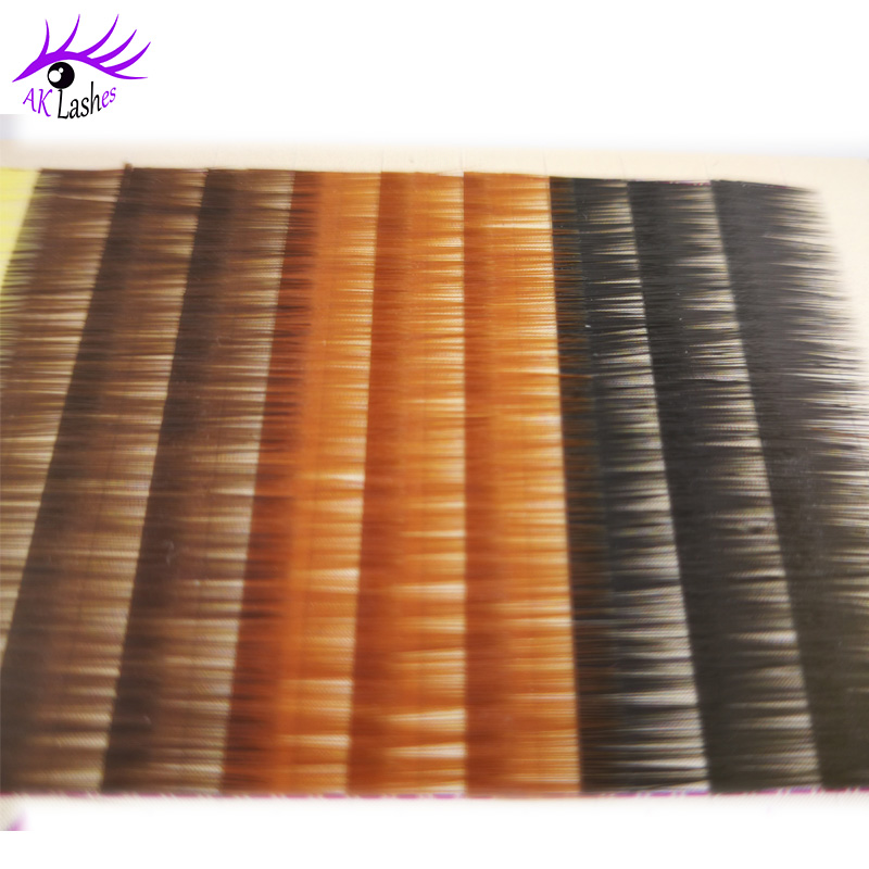 Wholesale Korea Quality 0.10mm Silky Mink Synthetic Hair Colored Yellow Individual Eyebrow Extension 5-8MM