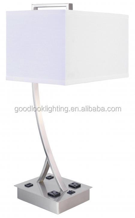 (C)UL&ETL listed Modern brushed nickel finish electric parts white cream fabric hotel table lamp/desk lamp