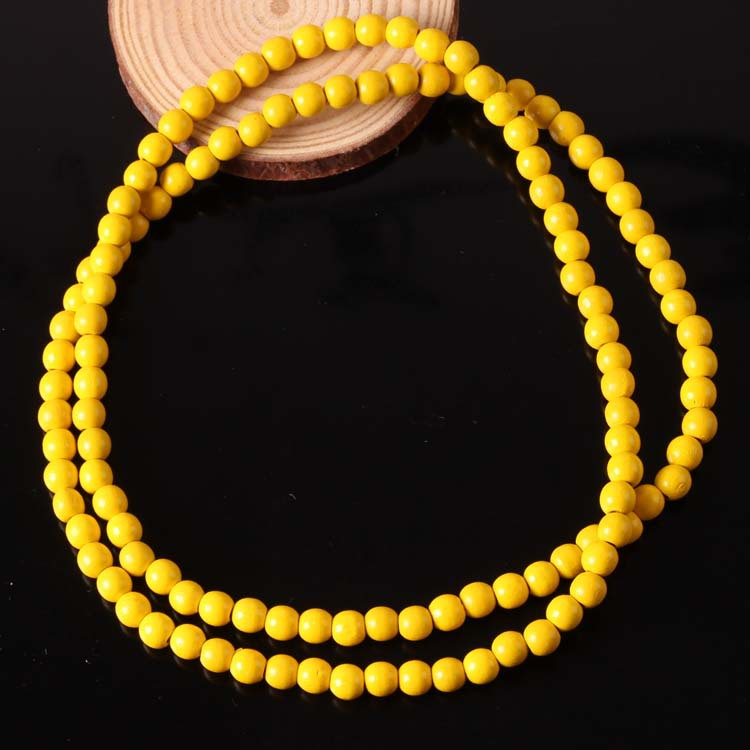 Long Hip-Hop Chain Rosary Plain Wood Beaded Necklace