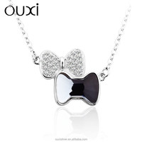 OUXI fashion girl's blue crystal necklace with pure silver and zircon Y10028