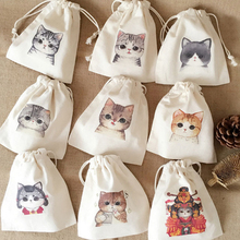 Wholesale custom funny cartoon printed drawstring cotton canvas gift bags