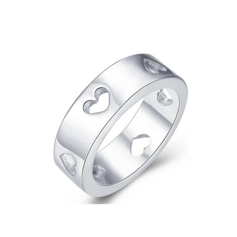 Hot Sale Hollow Heart Design Fashion Jewelry Silver Rings For Women Hollow Heart Ring Design AR-025 Moonso