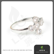 Wholesale Fashion Hot Trend Wedding Leaf Design 925 Sterling Silver Ring