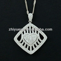 Elegant rhombus pendant, 925 sterling silver with cz stones,2013 latest design