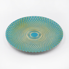 factory wholesale free sample glass charger <strong>plate</strong> 13&quot; net pattern gold paintingblue glass dinner <strong>plate</strong>