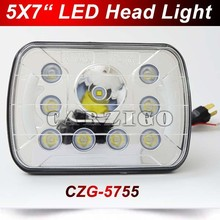 "CZG-5755 5X7'' headlight 7""inch led headlight 55w led work light with Emark Hi/Lo Beam Angel Eyes for Jeep"