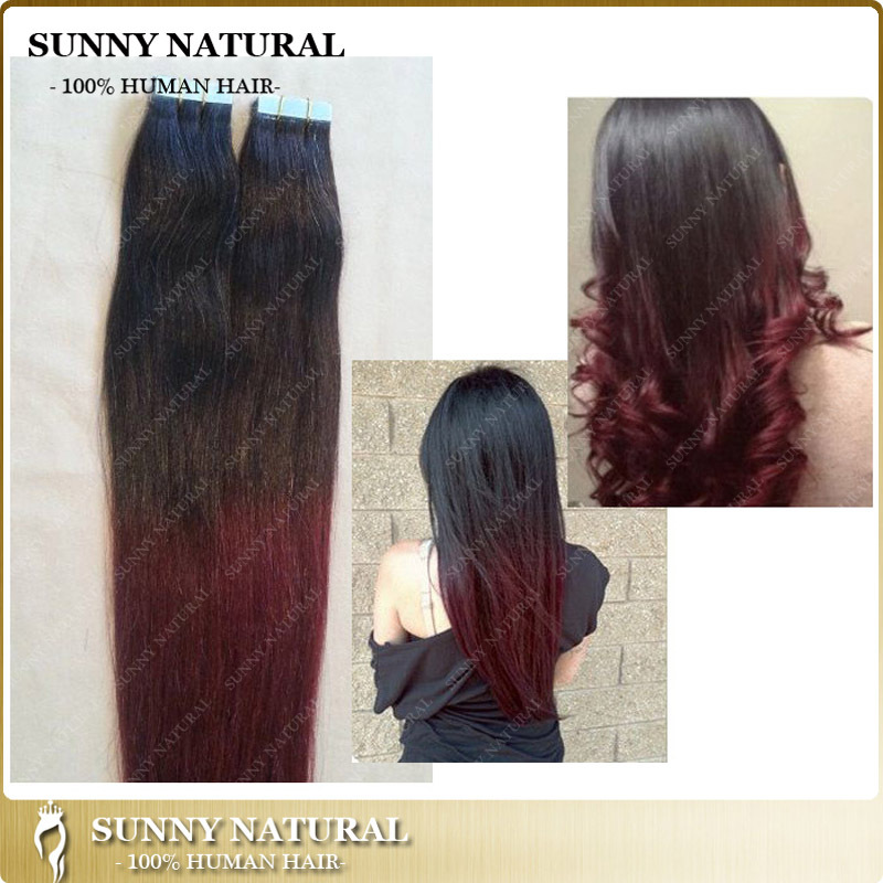 Ombre Remy Tape Hair Extension 40pcs 1b 99j Dark Red Brazilian Hair