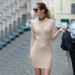F20515A Autumn winter wear ladies elegant sweater dress deep v neck long sleeve bodycon dress for women