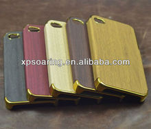 Wooden skin chrome case back cover for iphone 4g 4S