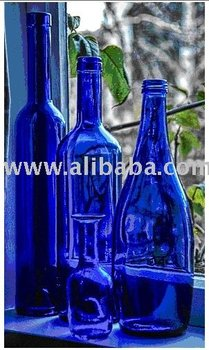 still life paintings,blue bottles along