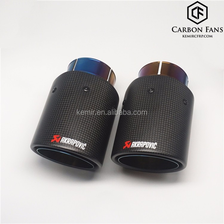 Akrapovic Carbon fiber exhaust tip with bluing color for BMW M5 F10 M6 F12 F13,304 Stainless Steel