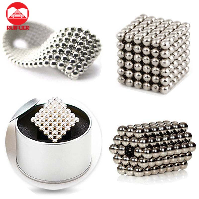 Free Shipping Silver 216 pcs DIY Neodymium 5MM Magnet Magnetic Buck Balls Cube Puzzle Spheres Educational <strong>Toys</strong> With Metal Box