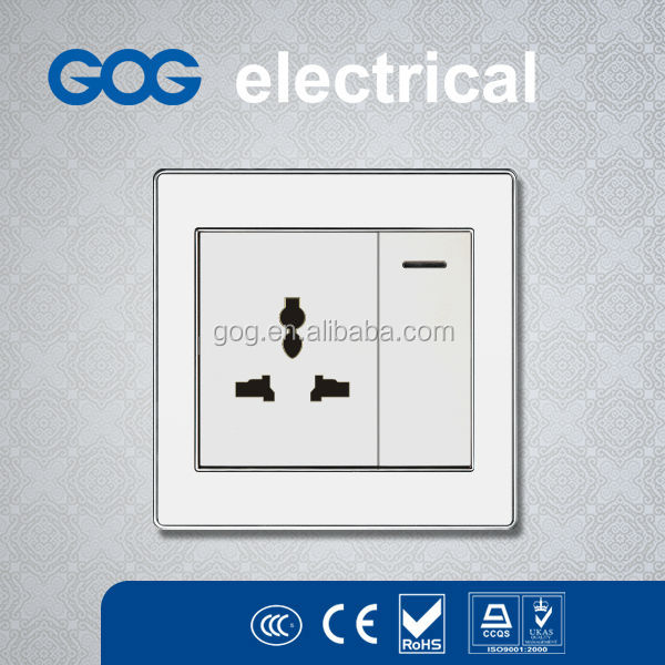 multiple power socket with 1 gang LED reset switch
