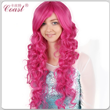 long curly hot pink beauty cosplay wig 80cm