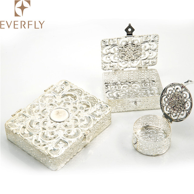 Decorative round silver metal jewelry box, prayer mini box