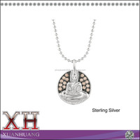 Lovely Circle Pendant Buddha Silver 925 Necklace