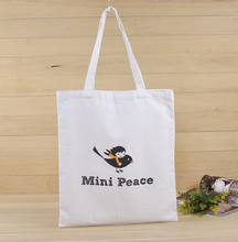 Mini Peace Logo Printed Eco Grocery Resuable Long Handle Shoulder Shopping Canvas Tote Bags