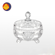 7 oz art decorative wholesale round fancy glass sugar bowl with lid