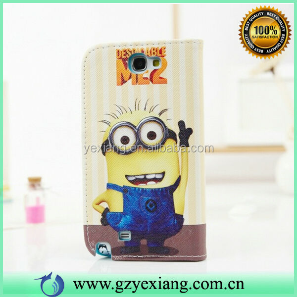 Mobile Phone Cartoon Skin Despicable Me 2 Minions Leather Case Cover