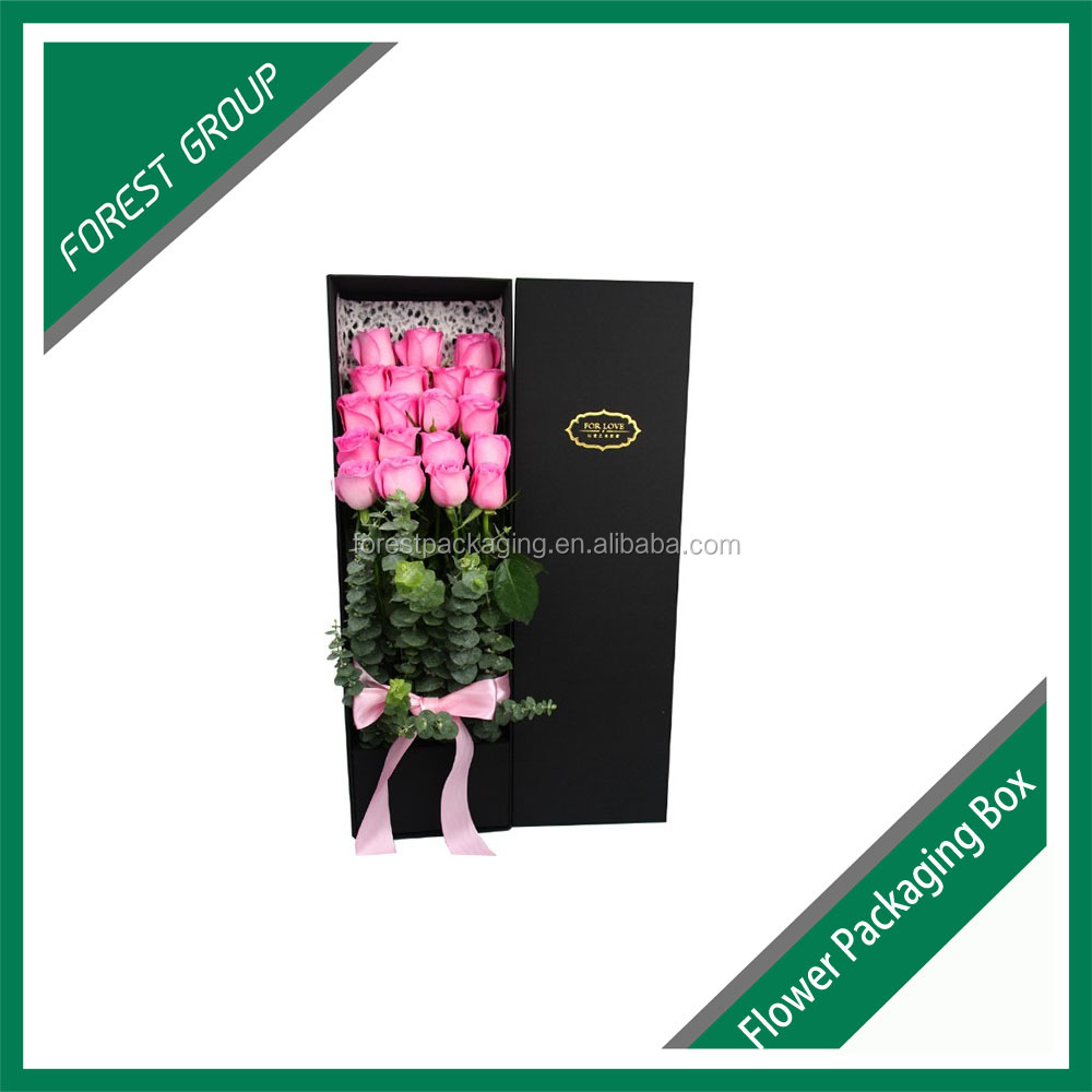 Customise fancy & hot design flower box for cut flowers with ribbon design, flower packaging box supplier