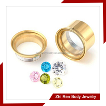 Gold IP Plated multiple cz ear flesh tunnel
