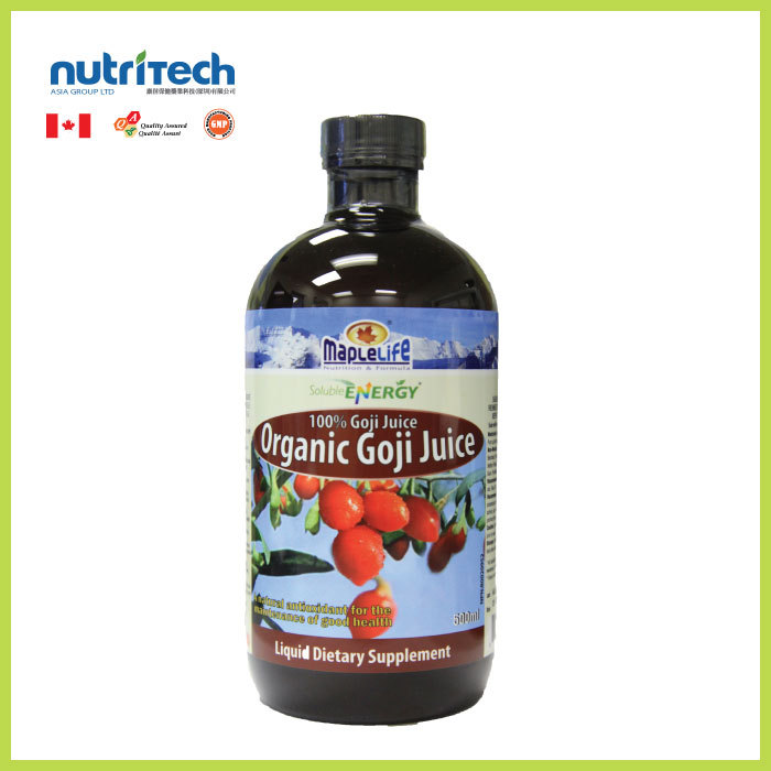 MapleLife Canadian Organic Goji Berry Juice Liquid Supplement, GMP-Certified