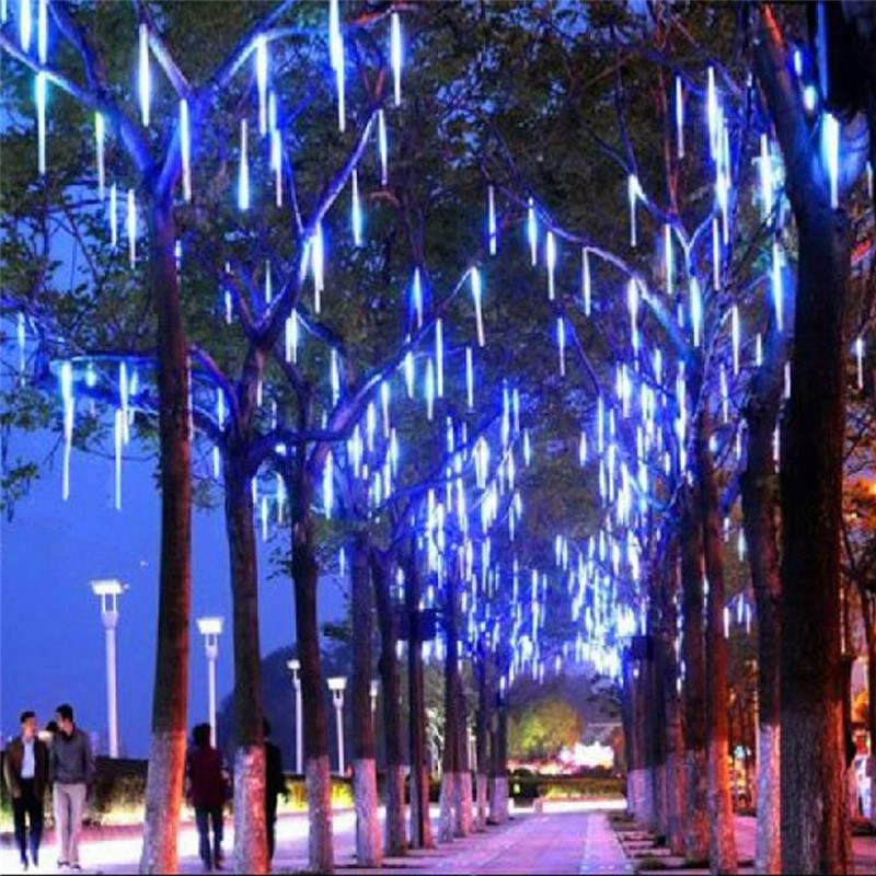 Newest Tree Decoration High Volt of Water Flowing Magic Light 50cm 240L Blue Double Sides Led Chasing Meteor Shower Light Cheap