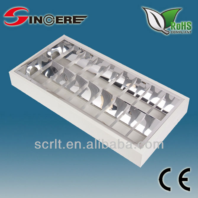 Louver fixture ceiling double tube light fitting T8 grille lamp