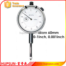 "high quality precision mechanical measuring tool dial face 60mm 0-2inch 0.001"" inch dial indicator gauge"