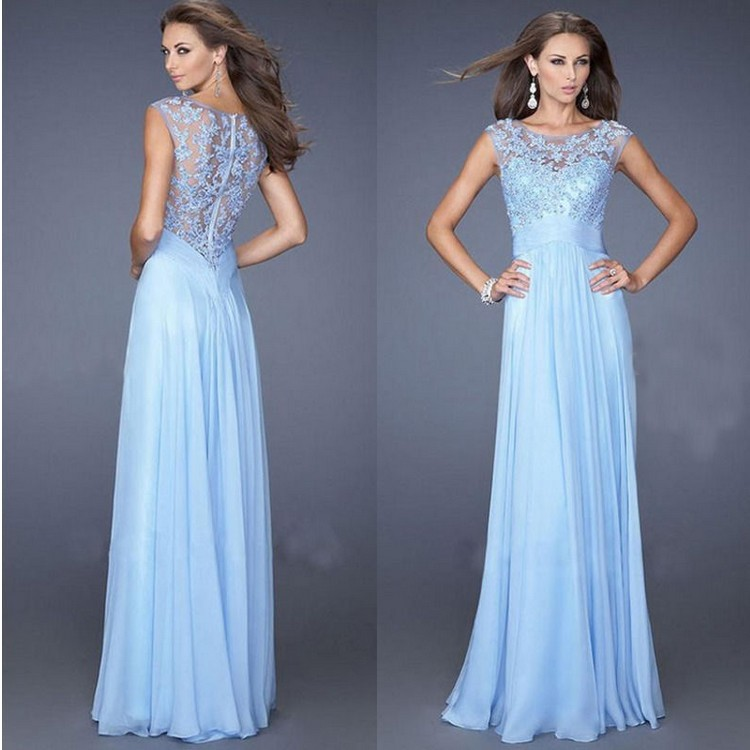 HT-WD Fancy Hot elegant Grace Long A-line Chiffon Sleeveless blue Prom Dress Women Formal Lace Evening Dresses/Dress