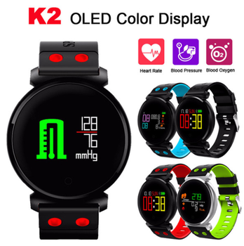 K2 Smart Bracelet Fitness Band Blood Pressure Heart Rate Monitor Blood Oxygen IP68 Waterproof OLED Color Screen Smartband Watch
