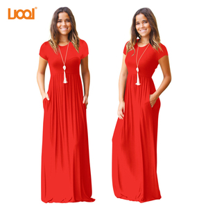 Women Daily Clothing Floor Length Elastic Casual Long Sexy Maxi Dress With Pocket