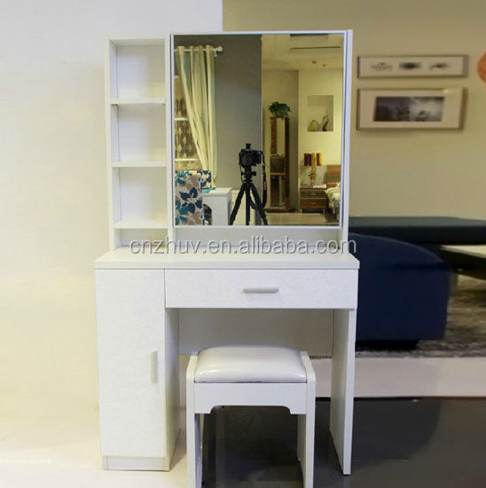 Wall mounted wooden dressing tables : Customized wardrobe wall mounted dressing table designs