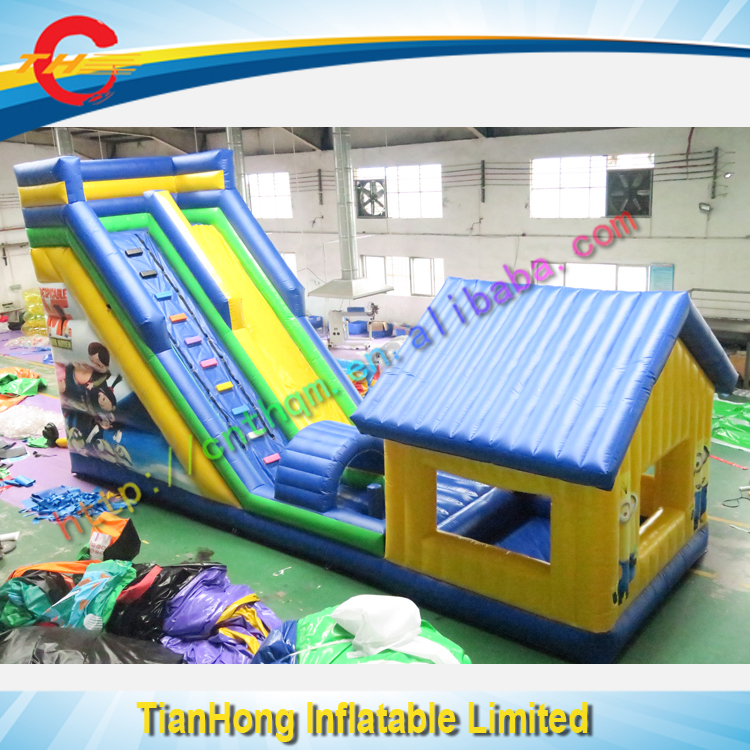 high quality giant slide <strong>inflatable</strong> with pool and bouncer cover