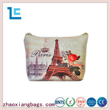 Zhaoxiang 2016 eiffel tower & rose romantic designer toiletry cosmetic bag for travel