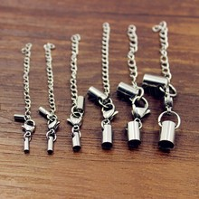 Stainless Steel Lobster Claw Cord Clasp different size for choice & with end cap original color Sold By Set