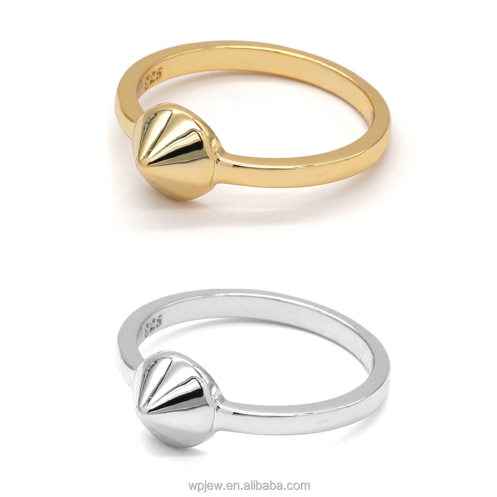925 Sterling Silver Rhodium or Gold Plated Cone Polished Fashion Ring Jewelry for Women
