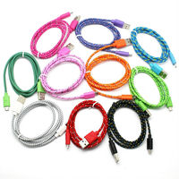Colorful textile braided micro usb cable for samsung smart phone